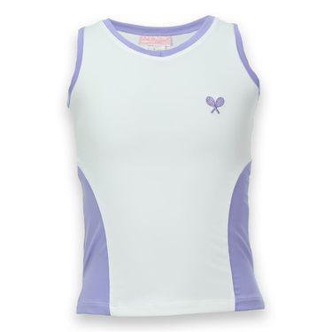 Little Miss Tennis Girls V Neck Tank - White/Lavender