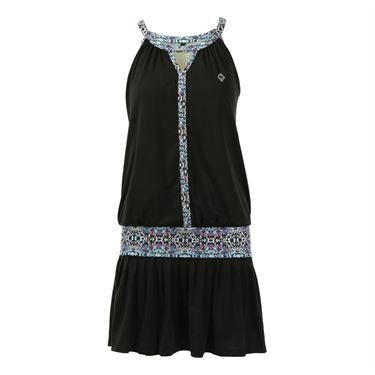 AdEdge Loose Fit Keyhole Dress - Black/Tribal Print