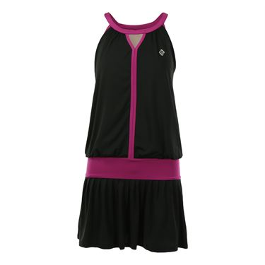 AdEdge Keyhole Tennis Dress - Black/Fuchsia
