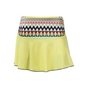 Adedge Single Flounce Skirt - Light Yellow/Print
