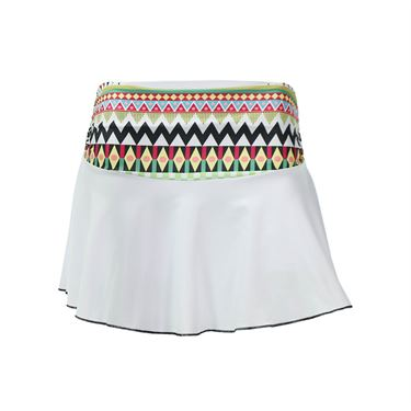 Adedge Single Flounce Skirt - White/Print