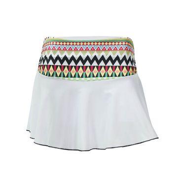 Adedge Single Flounce Skirt - White/Print