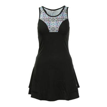 AdEdge Back Ruffled Dress - Black/Tribal Print