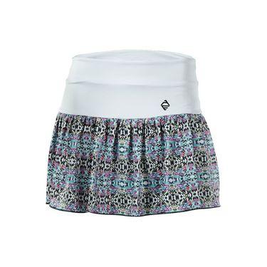 AdEdge Printed Flounce Skirt - White/Tribal Print