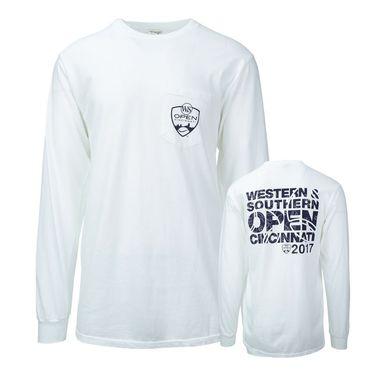 W&S Open Logo Long Sleeve Pocket Tee - White
