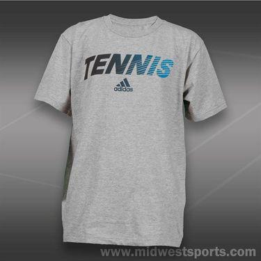 adidas Kids Tennis Graphic Tee-Grey/Night Grey