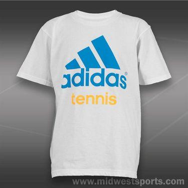 adidas Kids Tennis Tee-White/Solar Blue