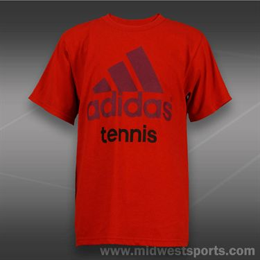 adidas Kids Tennis Tee-Light Scarlet/Dark Red