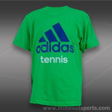 adidas Kids Tennis Tee-Vivid Green/Blue Beauty