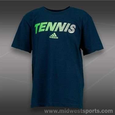 adidas Kids Tennis Graphic Tee-Collegiate Navy/Solar Green
