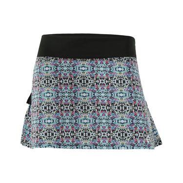 AdEdge Back Pleated Woven Skirt - Black/Tribal Print