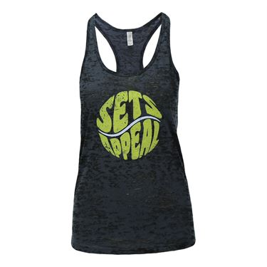 Love All Sets Appeal Burnout Tank - Black/Neon Yellow
