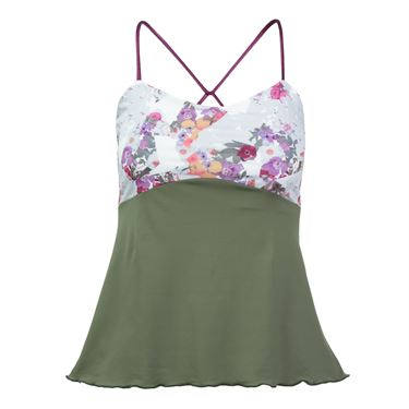 Denise Cronwell Army of Lovers Spaghetti Strap Tank - Green