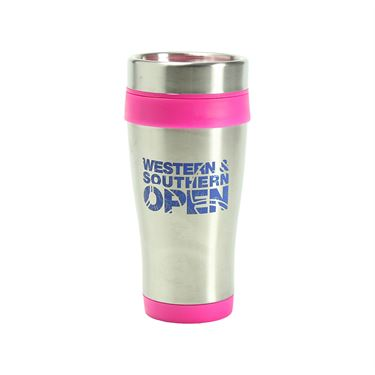 Western & Southern Open Stainless Steel Travel Mug - Pink