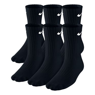 Nike Boys Banded Cotton Crew 6 Pack Socks - Black/White