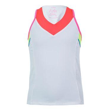 Lucky In Love Nano Rainbow Girls V Neck Racerback Tank - White/Coral/Neon Yellow