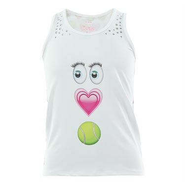 Lucky in Love Girls Printed Eye Love Tennis Tank - White