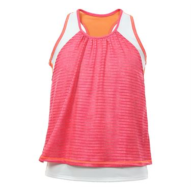 Lucky in Love Girls Mini Ikat Shadow Stripe Layer Crop Top - Hibiscus Linen