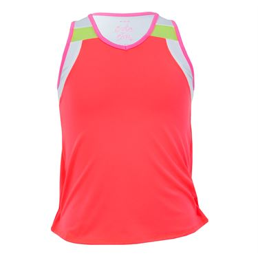 Lucky in Love Nano Rainbow Girls V Neck Swing Back Tank - Coral