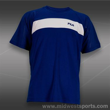 Fila Boys Baseline Rounded V Neck Shirt-Twilight