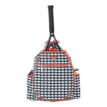 Ame and Lulu Ellie Printed Backpack - White/Navy Blue/Coral
