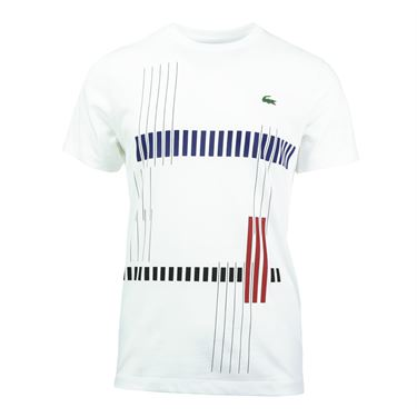 Lacoste Tech Jersey Vertical Stripe Graphic T Shirt - White
