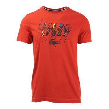 Lacoste Sport Tech Paint Jersey Crew- Corrida/Black/White/Jonquille