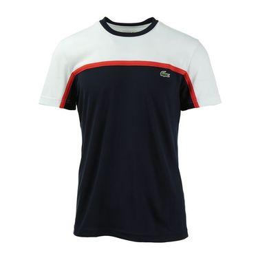 Lacoste Sport Ultra Dry Color Block Crew - White/Navy/Corrida