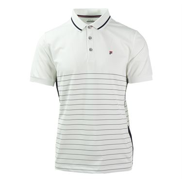 Fila Heritage Stripe Polo - White/Peacoat/Chinese Red