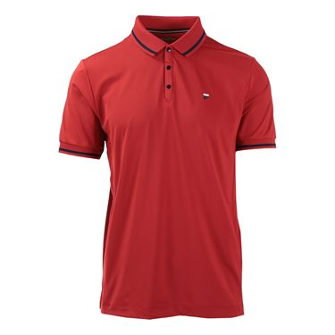Fila Heritage Pinstripe Mesh Polo - Chinese Red/White/Peacoat