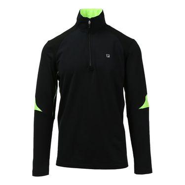 Fila Alpha 1/4 Zip Top - Black/Bright Lime