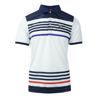 Fila Heritage Stripe Polo - White/Clematis Blue/Chinese Red