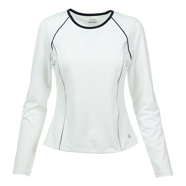 Fila Gingham Long Sleeve Top - White