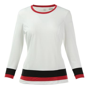Fila Heritage 3/4 Sleeve Top - White/Black/Crimson