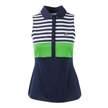 Fila Heritage Sleeveless Polo - Navy/Online Lime/White