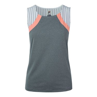 Fila Game Day Full Coverage Tank - Fiery Coral/White Pinstripe