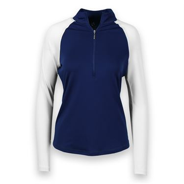 JoFit Kona Long Sleeve Mock Top-Blue Depth/White