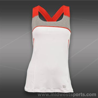 Wilson Ashland Heather X Back Tank -White/Graphite Heather