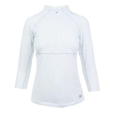 Wilson 3/4 Sleeve Zip Neck - White