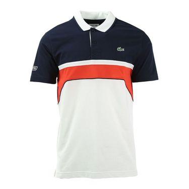 Lacoste Super Light Chest Stripe Polo - White/Navy/Blue Corrida