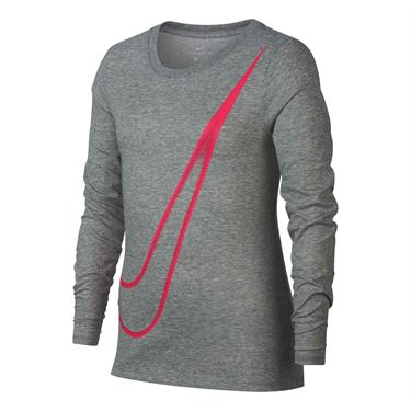 Nike Girls Dry Training Tee - Dark Grey Heather/Pink