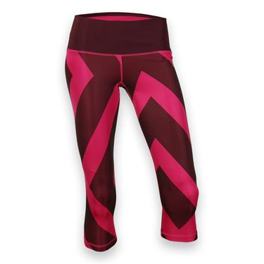 adidas Performer Mid Rise 3/4 Tight - Maroon/Bold Pink Print/Matte Silver