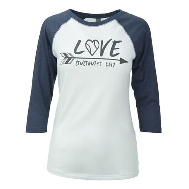 W&S 2017 Love Arrow Raglan Tee - White/Blue Heather