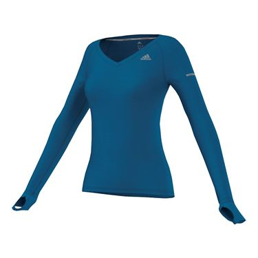 adidas V Neck Long Sleeve Tee - University Blue