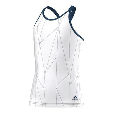 adidas Girls Club Printed Tank - White/Steel