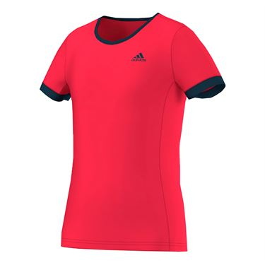 adidas Girls Court Tee - Ray Red/Navy