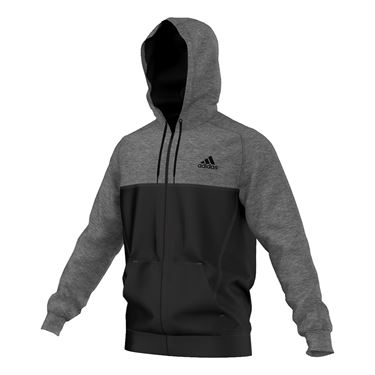 adidas Team Issue Full Zip Hooded Jacket - Grey Heather/Black