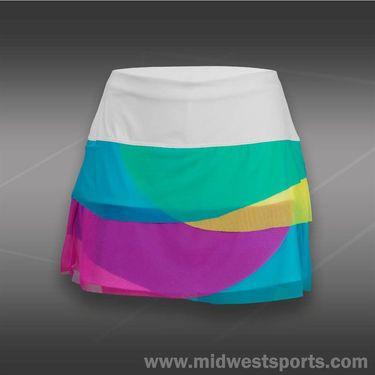 Lucky in Love Girls Love Plaid Mesh Scallop Skirt-Ocean Blue