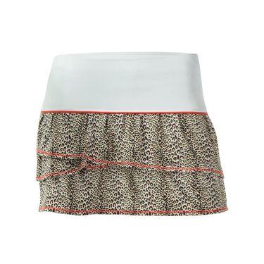 Lucky in Love Girls Mini Leopard Pleated Tier Skirt - Crimson