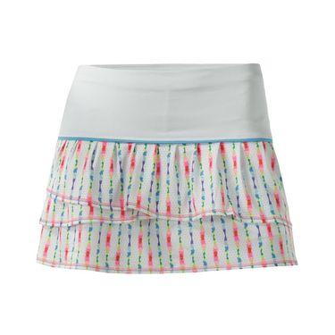 Lucky in Love Girls Tie Dye Ditsy Pleat Tier Skirt - White/Multi